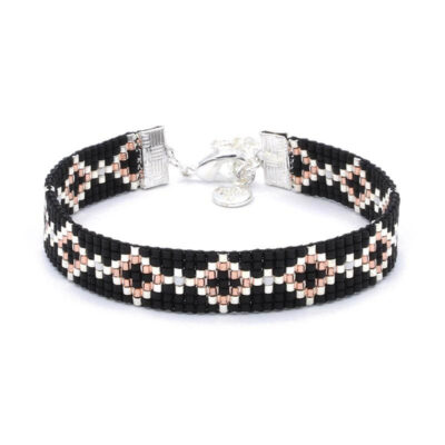 Beaded-Bracelet---Black-Diamonds---Zilver