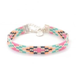 Beaded Bracelet - Festival Colors - Zilver