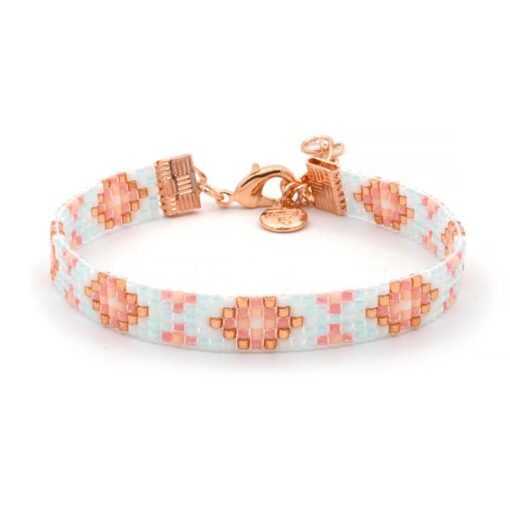Beaded Bracelet - Light Blue & Coral - Rosegoud