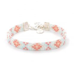 Beaded Bracelet - Light Blue & Coral - Zilver