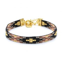 Beaded-Bracelet---Metallic-Black-&-Brown---Goud