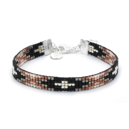 Beaded-Bracelet---Metallic-Black-&-Brown---Zilver