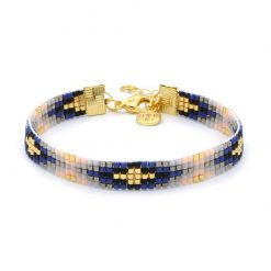 Beaded-Bracelet---Royal-Blue---Goud