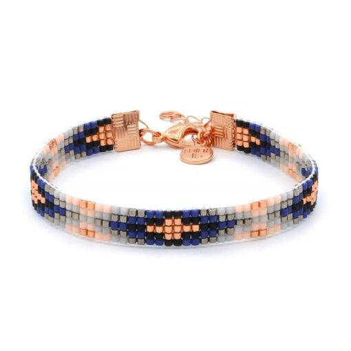 Beaded-Bracelet---Royal-Blue---Rosegoud