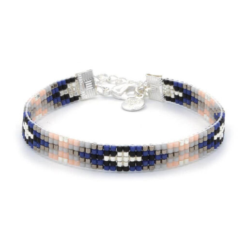 Beaded-Bracelet---Royal-Blue---Zilver