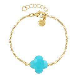 Armband Lucky Clover - Turquoise - Goud