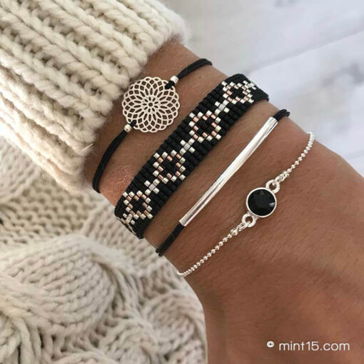 Armbandenset 'Black Diamonds' - Zilver