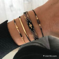 Armbandenset 'Black Metallic' - Goud