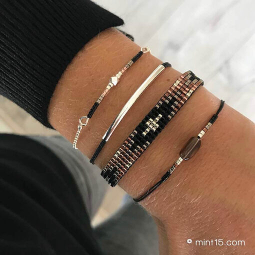 Armbandenset 'Black Metallic' - Zilver