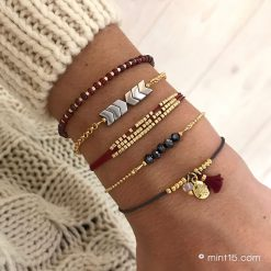 Armbandenset 'Bordeaux & Antracite' - Goud