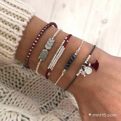 Armbandenset 'Bordeaux & Antracite' - Zilver