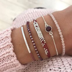 Bracelet set 'Bordeaux & Pink'