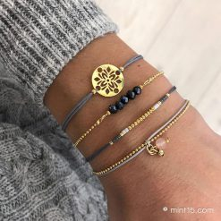 Armbandenset 'Dark Grey Tones' - Goud