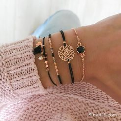Armbandenset-'Indian-Black'---Roségoud