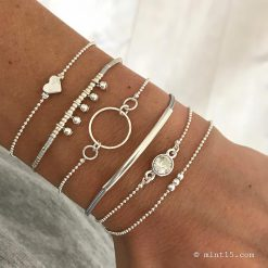 Armbandenset-'Natural-Chique'---Zilver