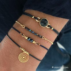 Armbandenset-'Navy-Blue'---Goud