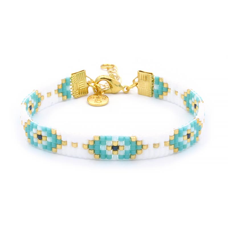 Beaded Bracelet - Lucky Eyes - Goud
