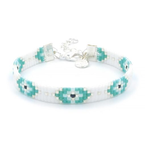 Beaded Bracelet - Lucky Eyes - Zilver