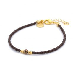 Diamond Bracelet - Dark Brown - Goud