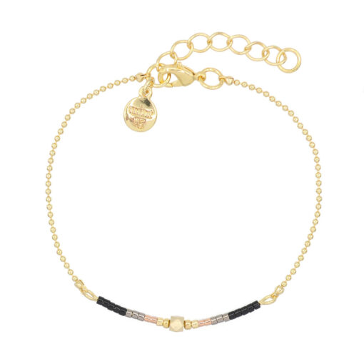 Mint15 - Delicate Chain & Beads - Black - Goud