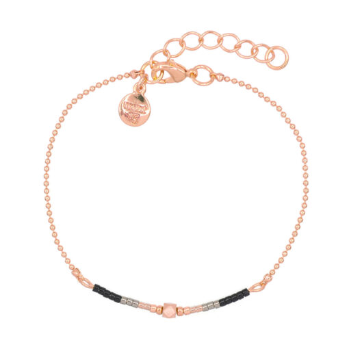 Mint15 - Delicate Chain & Beads - Black - Rosegoud