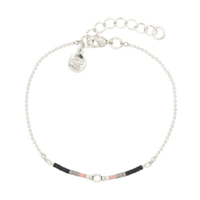 Mint15 - Delicate Chain & Beads - Black - Zilver