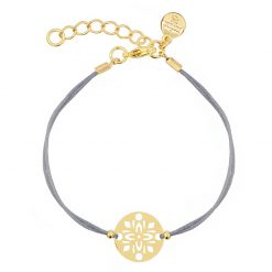 Mint15 - Floral Ornament Bracelet - Grey - Goud