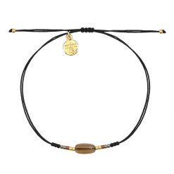 Mint15 - Glass Stone Bracelet - Black & Brown - Goud