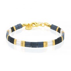 Tila Bracelet - Dark Blue & Black - Goud