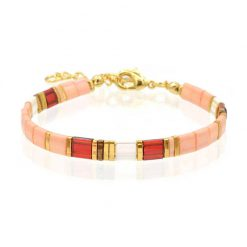 Tila Bracelet - Peach & Red - Goud