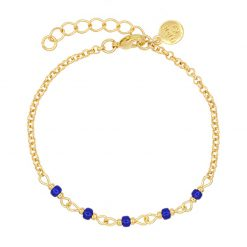 Chain Bracelet - Royal Blue - Goud