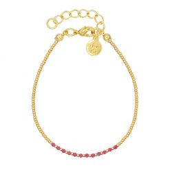 Little Jade Beads - Ruby Pink - Goud