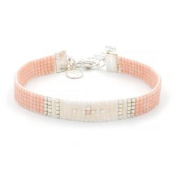 Beaded Bracelet - Simply Chique - Peach - Zilver