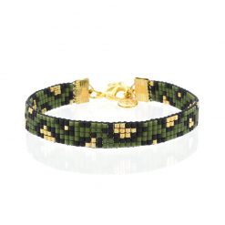 Beaded Bracelet - Leopard Army Green - Goud