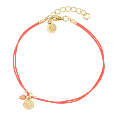 Mint15 Ankle chain with coin - Coral Red - Gold